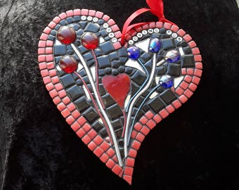 Heart mosaic, heart shaped hanging ornament, glass heart, unique handmade heart