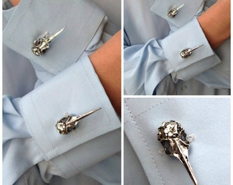 Goth Style Raven Skull Cuff Links Men's Skull Cufflinks Steampunk Accessories for Men and Women