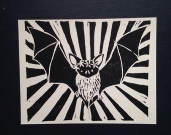 bat + flower crown postcard