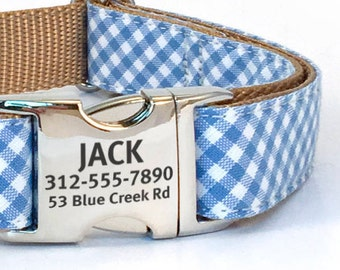Personalized Blue Dog Collar in a Cotton Gingham - Laser Engraved Dog Collar for Spring and Summer - Buckle Id