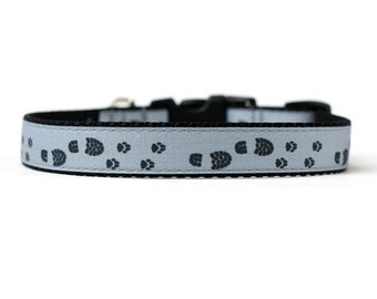 5/8 or 3/4 Inch Wide Dog Collar with Adjustable Buckle or Martingale in Paws n boots an Exclusive Design