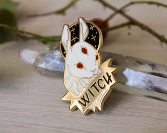 Hard Enamel Black and White Witch Pin Set