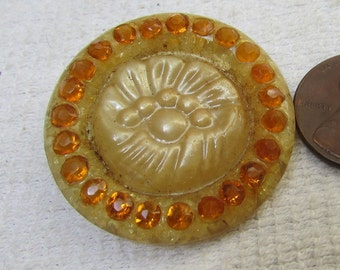 """Vintage 1940's large  """"carved"""" faux amber celluloid and rhinestone shank button"""