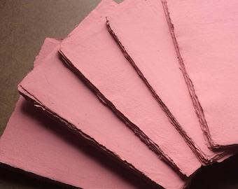 Coral paper, pink, orange, handmade paper, textured paper, recycled paper, textured paper, homemade paper, letterpress paper, stationery