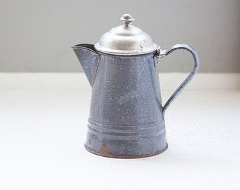 Gray Enamel Coffee Pot, Rustic Kitchen Decor