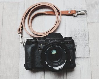 "38"" (96cm) Leather Camera Strap with Quick Release Snaps | Tan Leather Neck Strap | Thin Leather Camera Strap | DSLR Camera Strap"