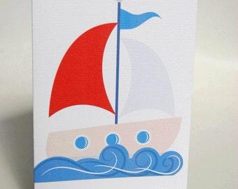 BIRTHDAY CARD BOY -- Little Sail Boat -- Greeting  Card