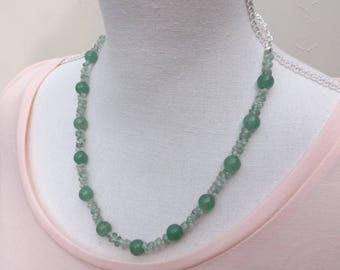 Aventurine necklace, green necklace, summer necklace, pretty necklace, glass beads necklace, pale green necklace