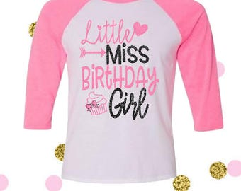 Girls Birthday Shirt, Personalized Birthday Shirt, Girls Raglan Birthday Shirt, Birthday Girl Shirt, Girls Shirt, Birthday Party Shirt