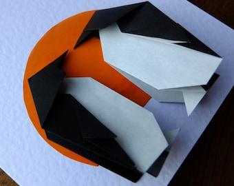 Origami Card Penguin Love Handmade Greetings Card, Wedding, Anniversary, Valentines, Engagement or Birthday