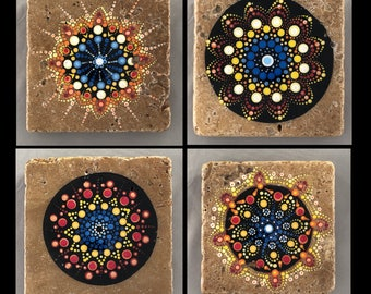 "Ceramic Tile Art - ""Natural Stone Tile Mandala"" - Hand Painted set of 4"