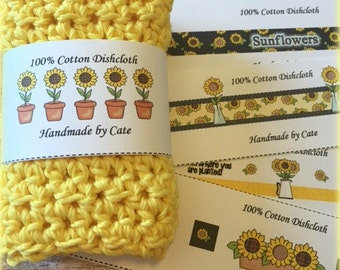 Sunflower Dishcloth/Washcloth Labels - PDF FILE ONLY