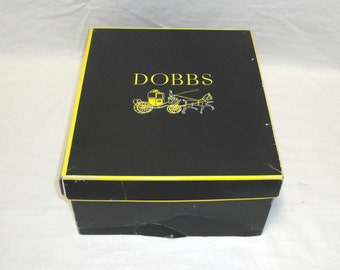 "Vintage Dobbs New York Black Yellow Rectangular Hat Box- 13 1/2"" L x 11 3/4"" W"
