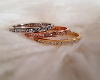 Tricolor Channel Set Rings