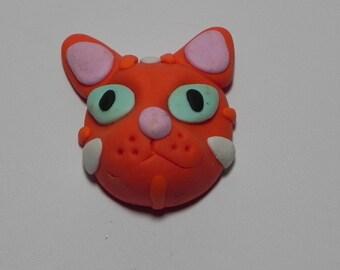 cat cabochon / tabby kitten cab / orange kitty / ginger / feline / gato / white striped / N408