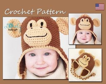 Crochet Animal Hat Pattern, Earflap Hat Crochet Pattern, Baby Monkey Hat, CP-302