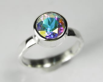 Mystic Topaz Ring - Mystic Topaz Engagement Ring -Rainbow Topaz Ring - Mystic Topaz Solitaire Ring - Gift for Her - Jewelry Rings