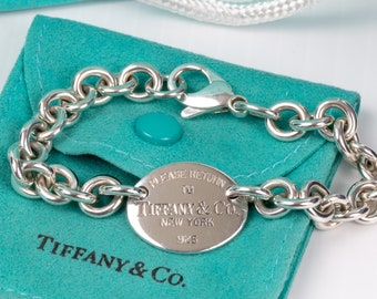 """Authentic Please Return to Tiffany & Co. Sterling Silver 925 Oval Tag Bracelet 7 1/4"""""""