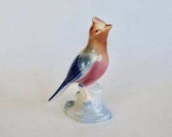 Vintage 1950s Blue and Pink Bird Ceramic Figurine! Cute!