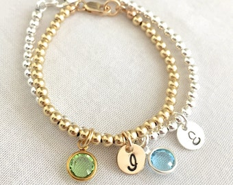 Personalized Sterling Silver Beaded Bracelet, Baby Bracelet, Bridesmaid Bracelet, Baby Shower Gift, Brides Gift, Gold Beads, Initial Disc