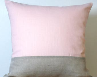 Cushion cover graphic in natural linen and pink linen. natural pink cushion. linen cushion. graphic pillows