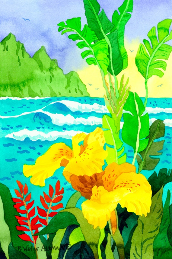 Tropical Flowers by the Sea