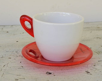 Italian Lucite Cup and Saucer Mid Century Red and White Biesse Cup and Saucer