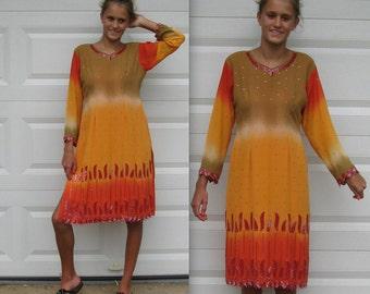 Firefly Dress . BeadedChiffon Dress . Indian Dress . Fiery Passion Dress . Ethnic Wiggle Dress . tie dye dress