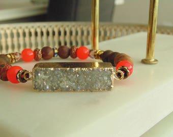 Druzy bracelet with Picasso beads