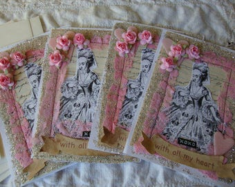 Love Cards Marie Antoinette Victorian style paper art Shabby pink embellished cards pink lace glass glittered Romantic Postcards
