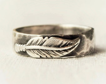 Sterling Silver Feather Ring - Boho - Hammered Band - Rustic Ring - Feather Jewelry - Wedding Band - Statement Ring - Unique - Bohemian