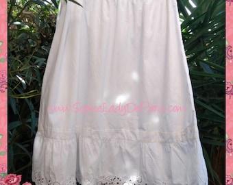 Long Victorian Petticoat Ruffled White French cotton Half Slip Handmade Clothing for Costumes  Medium Large #sophieladydeparis