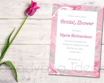 Pink marble bridal shower invitation. Bachelorette party invitation. Pink marble texture.