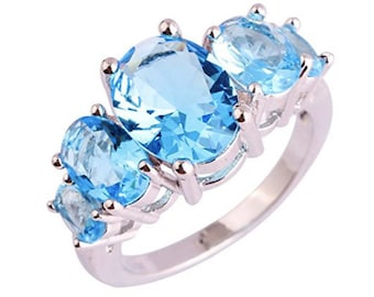 Art Deco Blue Swarovski Five Crystal Ring Size 6 Silver and 18k white gold plated