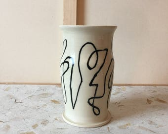 Oval Vase with Abstract Drawing - Composition 001
