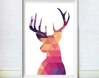 Deer Head Silhouette Triangles, Art Print, Instant Digital Download, Digital Print