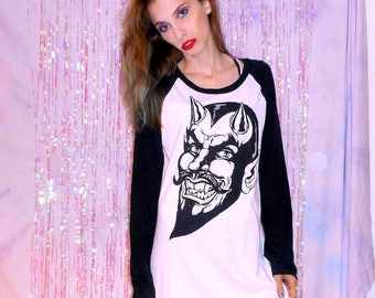 Black & White SATAN PORTRAIT Long Sleeve Raglan Shirt in Sizes Extra Small / Small / Medium / Large / Extra Large