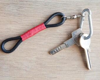 Minimalist Design Leather keychain, leather key fob, leather keyring