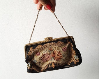 1950s tapestry flower handbag with small money purse / rhinestone embellishment/ evening bag