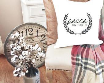 Christmas pillow covers - Merry Christmas Pillow - Christmas decor - Vintage Christmas - Peace on Earth