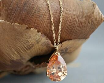 Topaz Necklace, Fall Wedding Jewelry, Topaz Teardrop, Cubic Zirconia Drop Necklace, 14k Gold Filled Chain, Pendant Necklace, Big Teardrop