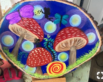 Wood slice whimsical fairy painting