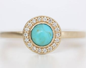 Turquoise Ring in Recycled 14k Gold and Diamond Halo - Kingman Turquoise and Diamond Ring - Alternative Bride - Conflict Free