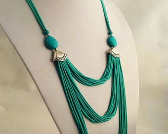 Turquoise necklace / layered necklace / long / present for her /