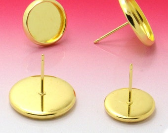 50 pairs (100 pcs) gold earring Studs 8mm-14mm Cabochon Bezel Setting Nickel Free