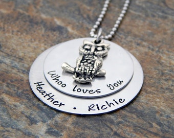 Personalized Jewelry - Whoo Loves You - Name Necklace - Owl Charm - Birthday Gift for Her - Mother's Day Gift for Mom - Mother's Necklace