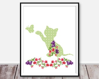 Kitten modern cross stitch pattern PDF Flower animal xstitch Floral embroidery cat Easy funny counted cross stitch Baby decor Nursery art