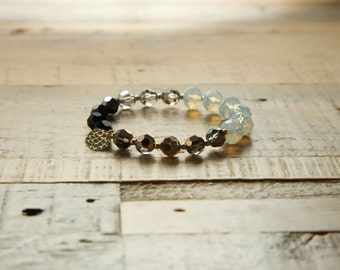 Swarovski Crystal  Beads Bangle/goldfilled disc/Beads Bacelets