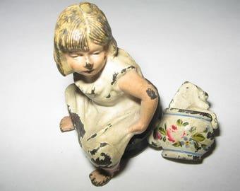 Antique 1800s Cast Iron Child on Top Hat Chamber Pot Figure  #e226