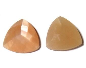 40% Sale -- Peach Moonstone, 20 mm Size, Cut Stone, Triangle Shape, 2 Pcs.